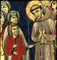 Clare's profession of vows: 13th Century painting