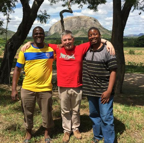 Liam with Friars Edwine and Joshua at Mutemwa.