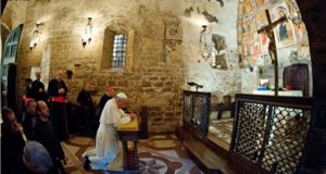 Pope Francis in the little chapel in Assisi.