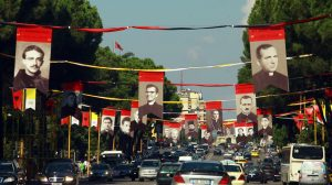 FILE - In this Sept. 17, 2014 file photo, a view of posters with the images of Catholic priests who were executed and persecuted by the former Albanian communist regime, on the Martyrs of the Nations Boulevard, in Tirana. The Catholic Church in Albania says that Vatican has set Nov. 5, 2016 as the day of beatification of 38 Albanian religious martyrs killed by the former communist regime. In April, Pope Francis officially recognized as martyrs archbishop Vincens Prenushi and 37 other priests who died in prison or were murdered in 1945-1974 by the late communist dictator Enver Hoxha's regime, said a statement Wednesday. (AP Photo/Hektor Pustina, File) (AP Photo/Hektor Pustina)